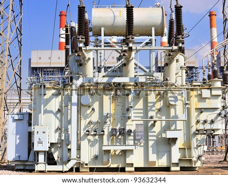 transformer on high power station. High voltage - stock photo