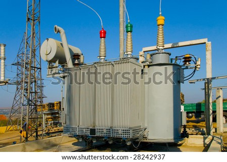 transformer on high voltage substation - stock photo