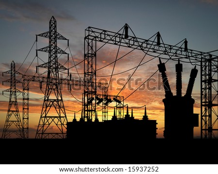 Transformer over orange sky - stock photo