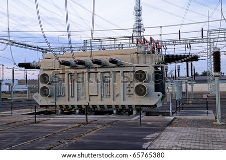 Transformer station Close up of a transformer station - stock photo