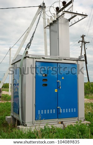 Transformer station installed near the village of - stock photo