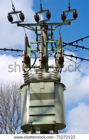 Transformer station on the pylon - stock photo