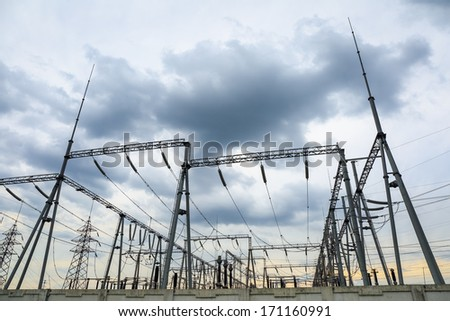transformer substation in cloudy ,abstract background of energy  - stock photo