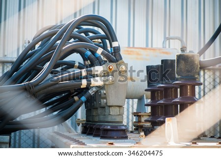 Transformers with power line congestion. - stock photo
