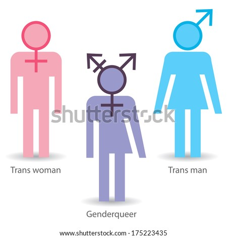 Transgender icons: trans woman, trans man, genderqueer. Raster version - stock photo