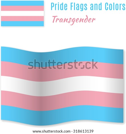 Transgender pride flag with correct color scheme, both still and waving. Gay culture symbol. Raster version. - stock photo