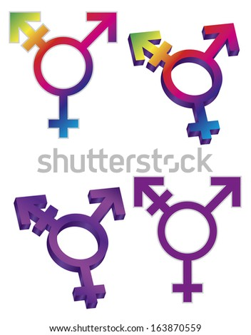 Transgender Symbols Isolated on White Background Raster Illustration - stock photo