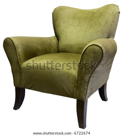 Transitional Style Occasional Accent Chair in Sage Tone with Dark Maple Legs - stock photo