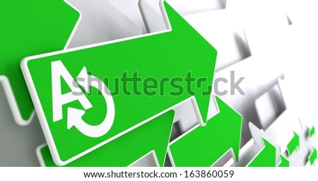 Translating Icon on Green Arrow on a Grey Background.  Communication Concept. - stock photo