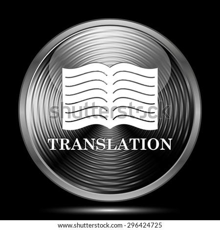 Translation book icon. Internet button on black background.  - stock photo