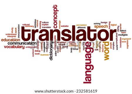 Translator word cloud concept - stock photo