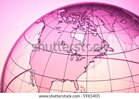 Translucent globe with backlit background - stock photo