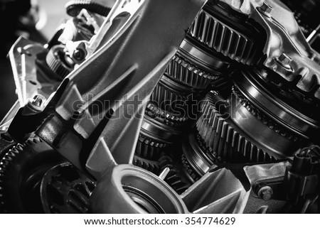 Transmission black and white - stock photo