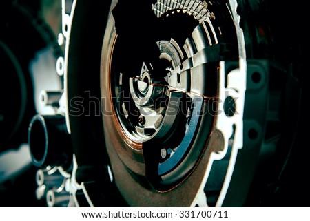Transmission car. Details driveline close up - stock photo