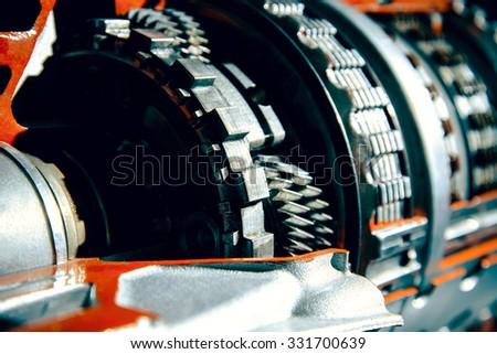 Transmission car. Parts of transmission close up - stock photo