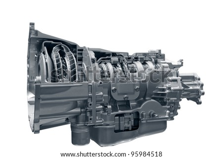 Transmission. Concept of land vehicle transmission box isolated on white background. Clipping path included.