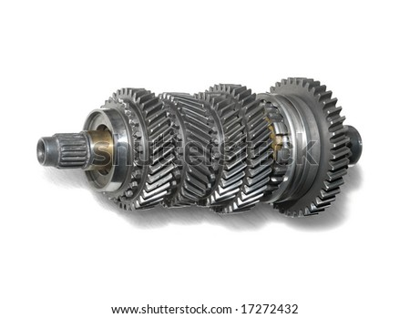 Transmission gears over white background.