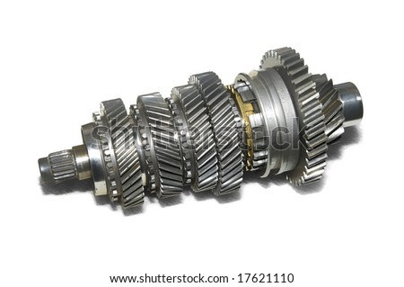 Transmission gears over white background. - stock photo