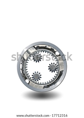 Transmission gears over white background.Available room for latter text.