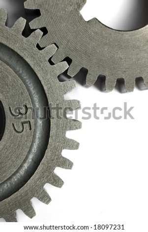 Transmission gears over white background.Available room for latter text. - stock photo