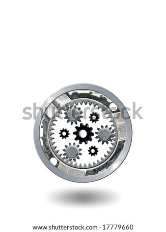 Transmission gears over white background. Available room for text.