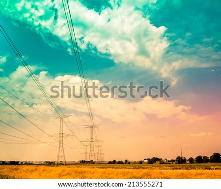 Transmission line, Electric Power Lines. smart grid - stock photo