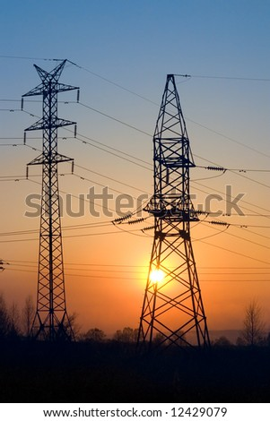 Transmission line on a background of the coming sun