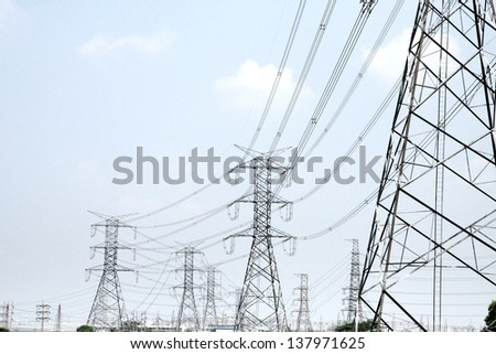 Transmission line tower - stock photo