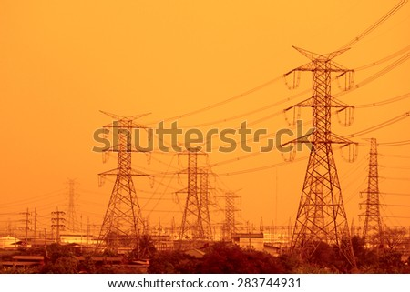 Transmission line tower in Thailand