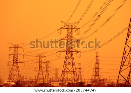 Transmission line tower in Thailand - stock photo