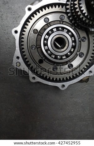 transmission. metal gears. industrial background.grey metallic backdrop colors cogwheel auto car parts mechanical auto repair - stock photo