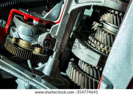 Transmission of the car closeup - stock photo