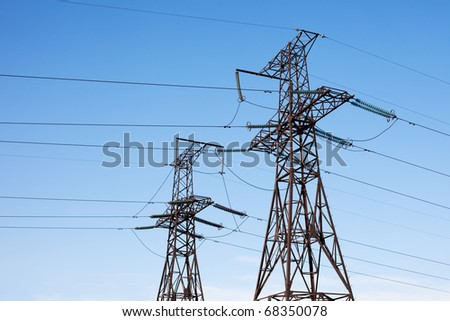 Transmission power line - stock photo