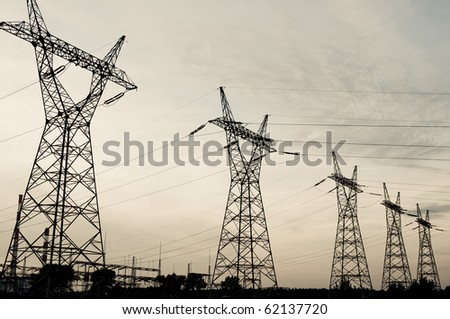 transmission power lines - stock photo