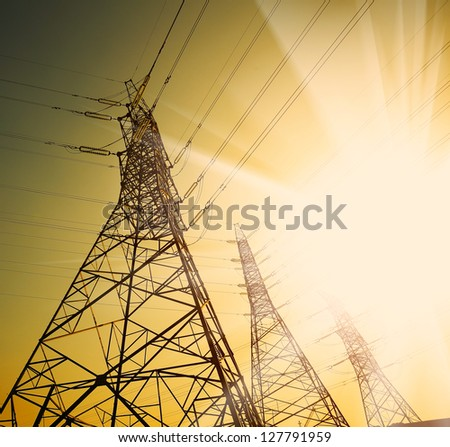 transmission Power towers - stock photo