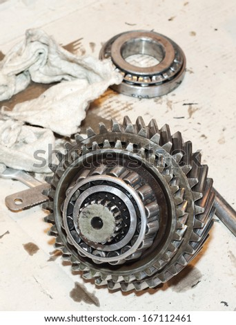Transmission repair. Automobile gears. Transmission parts. - stock photo