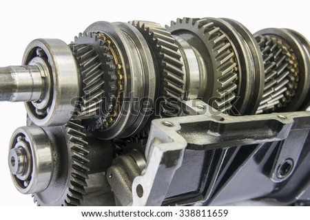 transmission shaft gear in oil sum case - stock photo