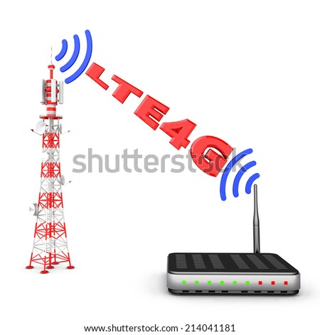 Transmitted by the tower, the modem, the signal and the inscription LTE4G - stock photo
