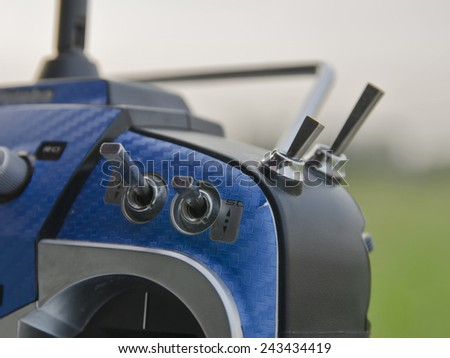 Transmitter for a RC helicopters and RC airplanes.  - stock photo
