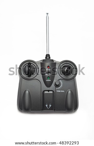 Transmitter for a RC toys on the white background. - stock photo