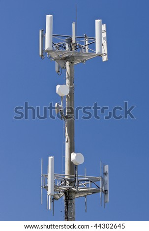 Transmitter over blue sky for mobile connection