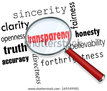 Transparency Words Magnifying Glass Clarity Accuracy Honesty - stock photo