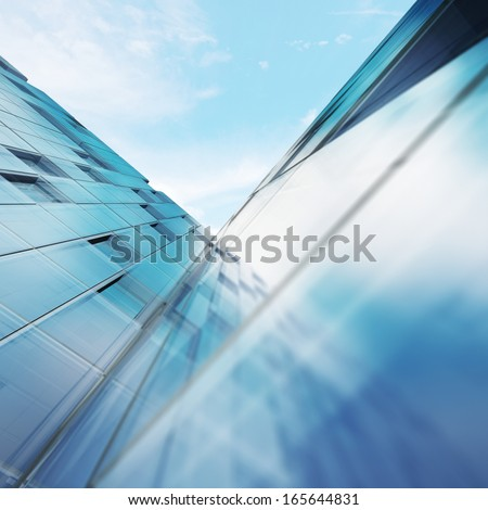 Transparent abstract building. Building design and 3d model my own - stock photo