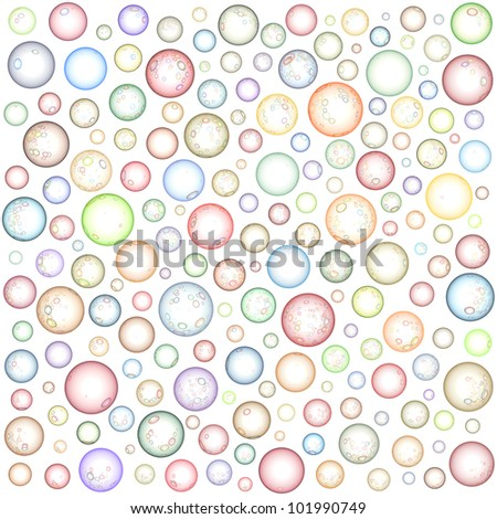 transparent abstract sphere bubble pattern in multiple color on white - stock photo