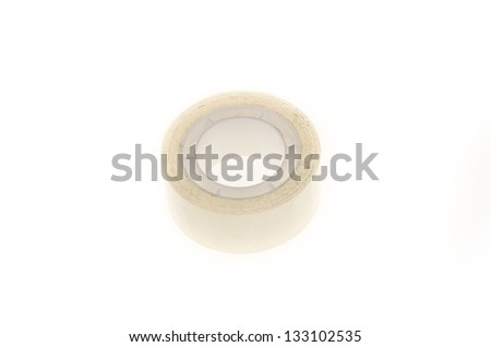 Transparent adhesive tape isolated on a white background - stock photo