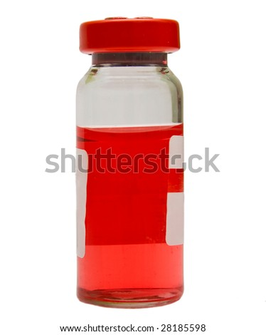 Transparent ampule with a red medicine on a white background. Isolation. Shallow DOF - stock photo