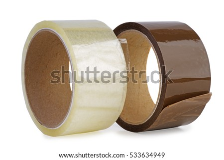 Transparent and brown sticky tapes isolated on white background
