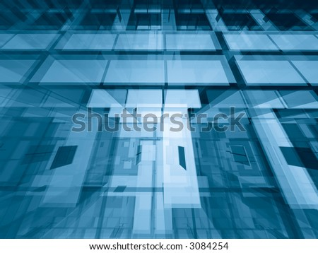 Transparent architectural abstract - geometric 3d background - stock photo