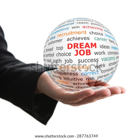 Transparent ball with inscription dream job in a hand. - stock photo