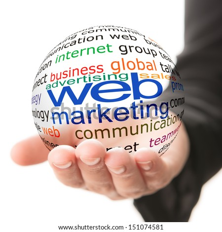 Transparent ball with inscription web marketing in a hand - stock photo
